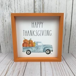 Rae Dunn HAPPY THANKSGIVING Orange Wooden Sign